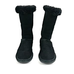 BearPaw Eva Black Tall Suede Upper Sheepskin Footbed Wool Lining Boot Size 7